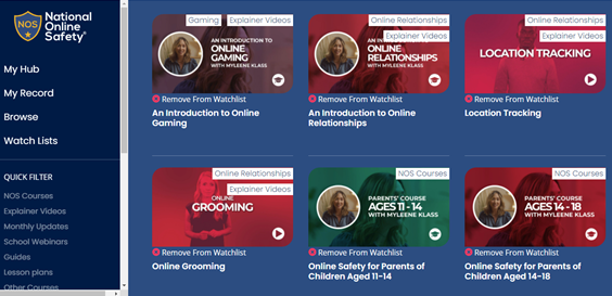 The National Online Safety Mascalls Academy Dashboard.